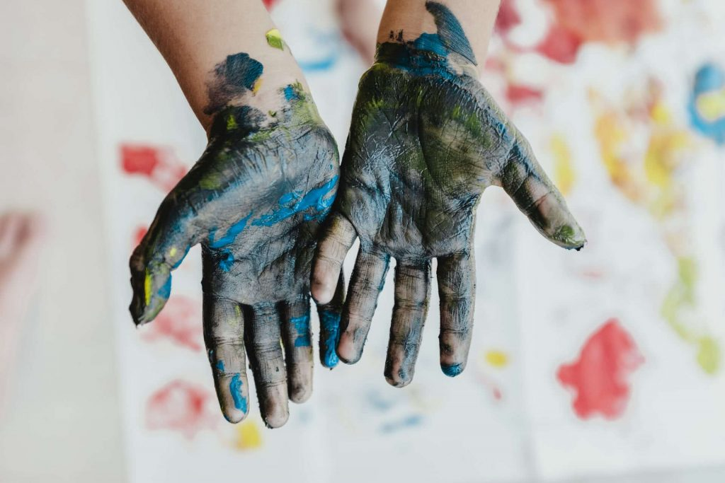 Kids Hands Messy Learning Paint